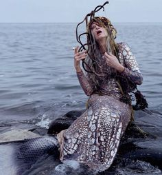 Legends hold that the Grey King of the Iron Islands wed a mermaid & became king of the western isles & all the sea beyond.For a thousand years they reigned & plotted war against the Storm God.  (© Tim Walker photography for W Magazine, December 2013)