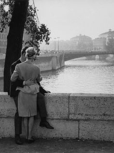 Lovers on one of Paris's many bridges, 1963