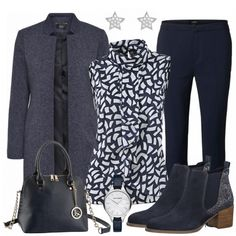 Schickes Outfit aus blauer Bluse, blauem Mantel und Jeans. #frauenoutfit #damenoutfit #fashion #inspiration #fashionista #bekleidung #damenkleidung Casual Work Outfit Winter, Classic Work Outfits, Outfits Damen, Komplette Outfits, Winter Fashion Outfits, Work Fashion, Business Outfits, Business Fashion, Comfortable Summer Outfits