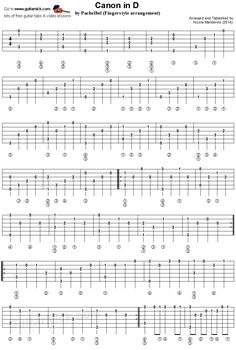 Canon In D by Pachelbel - fingerstyle guitar tablature 1