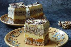 Retete Culinare - Prajitura din albusuri cu gem de caise si crema de vanilie