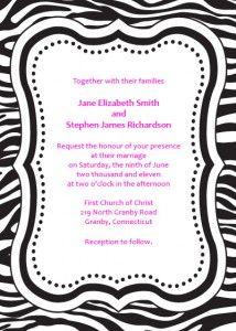zebra print invites free