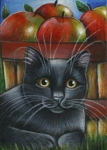 Black Cat Apples Fall Painting