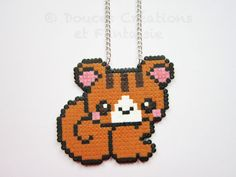 Squirrel kawaii Necklace animal jewelry perler by DoucesCreations