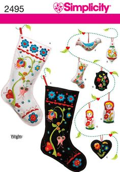 Out Of Print Christmas decoration sewing patterns, including ornaments and stocking. Simplicity 2495