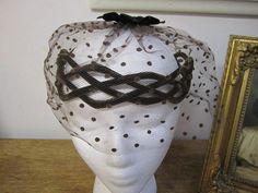 Fabulous Criss cross Brown   Velvet  Cocktail Hat with Veil. Unworn. B 9 on Etsy, £12.22