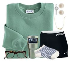 """Go Pack Go"" by carolinaprep137 ❤ liked on Polyvore featuring Blair, NIKE, Links of London, Cutler and Gross and J.Crew"