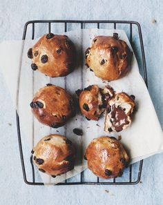 oozy chocolate and sultana buns, Chantelle Grady