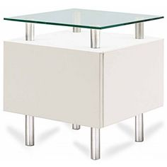 Modern White Square End Table With Storage Molino End Tables With Storage, Modern  End Tables