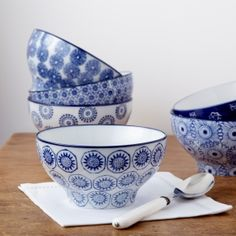 Blue and White Cereal Bowls   Tableware   rigby & mac