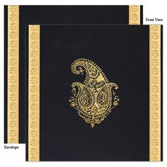 Indian wedding card black and gold