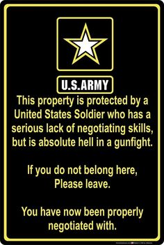 Property Protected by Soldier U. Army x Aluminum Metal Sign - Addict Tee Army Humor, Army Memes, Military Quotes, Military Humor, Military Life, Army Life, Soldier Quotes, Army Quotes, Army Strong Quotes