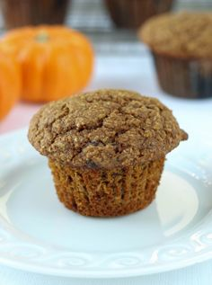 Pumpkin Banana Bran Muffin - easy, healthy, spiced pumpkin muffins!!! Perfect for Fall and all Winter long! ~American Heritage Cooking