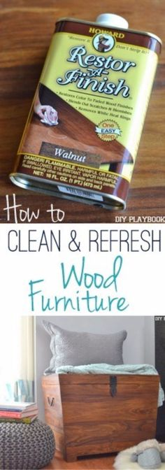 Cool Woodworking Tips - Clean And Refresh Wood Furniture - Easy Woodworking Ideas, Woodworking Tips and Tricks, Woodworking Tips For Beginners, Basic Guide For Woodworking - Refinishing Wood, Sanding and Staining, Cleaning Wood and Upcycling Pallets - Tips for Wooden Craft Projects http://diyjoy.com/diy-woodworking-ideas #coolwoodwork #cleaningwoodfurniture #woodworkingforbeginners