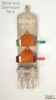 DIY Wine bottle and glasses holder. http://realitydaydream.com/wall-mounted-wine-and-stemware-rack/