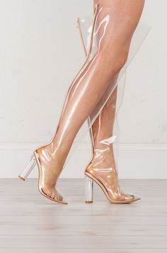 Side view Transparent Thigh High Boots
