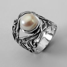 Designed 925 Sterling Silver Ring Shablool Three-Stone White Fresh Water Pearl