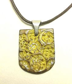 Golden Meadow Blossoms Stamped Clay Pendant by PathsofPisgah