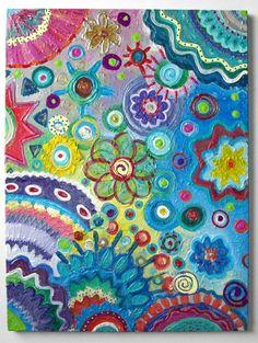 Flowers Original Handpainted Abstract by HeatherMontgomeryArt, $75.00
