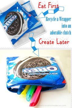 This is such a great idea ~ save food wrappers and create a food-safe clutch, pouch or bag. Recycling fabulousness!