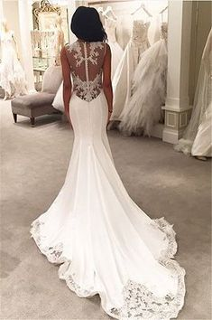 Lace Mermaid Wedding gown Sheer Back Buttons Lace Trim Elegant Bridal Gowns Wedding Dress Buttons, Sheer Wedding Dress, Lace Mermaid Wedding Dress, Dream Wedding Dresses, Bridal Dresses, Wedding Gowns, Lace Wedding, Wedding Day, Elegant Wedding