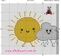 Sol e Chuva Fuse Beads, Hama Beads, Counted Cross Stitch Patterns, Cross Stitch Embroidery, Sun And Clouds, C2c, Loom Patterns, Filet Crochet, Le Point