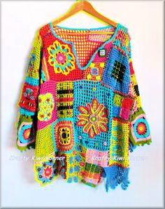 Crochet Free Form Squares and Flowers Top  by KraftytKiwiKorner