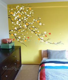 Cherry blossoms tree with Butterfly decal on ochre wall