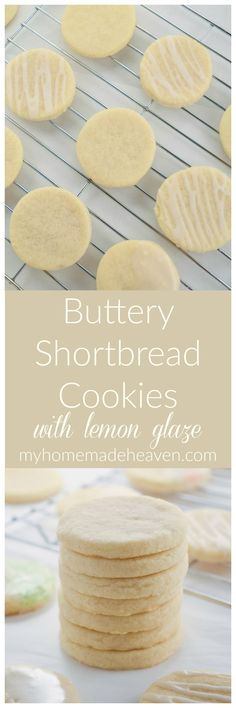 Buttery Shortbread Cookies with Lemon Glaze - My Homemade Heaven Cookie Recipes, Dessert Recipes, Bar Recipes, Dessert Food, Lemon Recipes, Buttery Shortbread Cookies, Easy Desserts, Delicious Desserts, Yummy Food