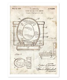 Another great find on zulily toilet paper roll 1891 blueprint art look at this toilet seat 1956 parchment print on zulily today malvernweather Image collections