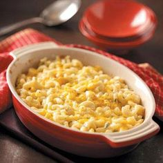 """Creamy Macaroni 'n' Cheese Recipe- Recipes  """"I prepare this cheesy recipe when I'm craving 'comfort food' but trying to eat a little lighter,"""" advises Dawn Royer of Albany, Oregon. """"The hint of mustard adds zip to this creamy side dish—and it makes a pleasing meatless entree, too."""""""