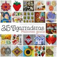 Crochet y Dos agujas: 35 Agarraderas para tejer al crochet / Colección