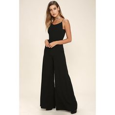 All You've Ever Wanted Black Backless Jumpsuit ($78) ❤ liked on Polyvore featuring jumpsuits, black, wide leg jumpsuit, skinny leg jumpsuit, jump suit, cocktail jumpsuit and evening jumpsuits