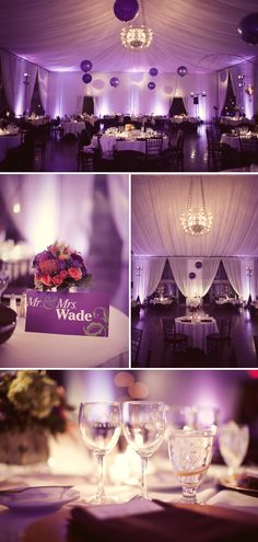 Purple wedding reception -pinned by wedding specialists dazzlemeelegant.com