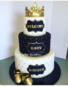 The Cake Queens - San Carlos, CA, United States. Black & Gold Prince Babyshower Cake