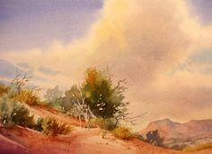 Classic Clouds , Watercolor painting of big skies over the Utah desert - Watercolor Paintings by Roland Lee