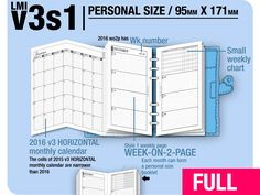 2016 / v3s1 / Personal w/o DAILY / Filofax Inserts Refills Printable Binder Planner New Item from DIY fish