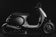"""Butcher Garage construct a """" Honda Zoomer/Ruckus style custom"""" based on a Vespa LX, stretched to make the rear wheel axle level with the end of the body. Vespa Lx, Vespa Sprint, Custom Vespa, 70th Anniversary, Wasp, Cars And Motorcycles, Specs, Honda, Garage"""