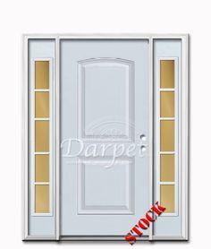 2 Panel Arch Steel Exterior Door with Sidelites 6-8 | Darpet Interior Doors for