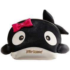 Betsey Johnson Kitsch Whale Cosmetic Case ($58) ❤ liked on Polyvore featuring beauty products, beauty accessories, bags & cases, black, cosmetic purse, betsey johnson, travel bag, toiletry kits and toiletry bag