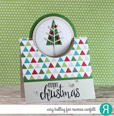 Card by Amy Kolling. Reverse Confetti stamp set: Christmas Blessings. Confetti Cuts: Pop Up Circle and Branch Out. RC 6x6 Paper Pad: Very Merry. Christmas card. Holiday card. Winter card.