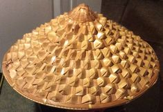 """Vintage 16"""" Coolie Hat Asian Straw Farmer Rice Paddy - Displays Nicely"""