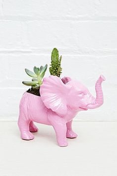 An elephant plant holder! A PINK elephant plant holder!