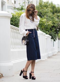 denim culotte white blouse street style