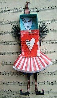 a matchbox doll : enough to make someone's day!  #matchbookart #mixedmedia #matchbox