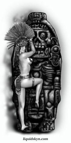 Aztec arte Chicano Tattoos, Chicano Art, Aztec Drawing, Aztec Tattoo Designs, Latino Art, Aztec Culture, Lowrider Art, Aztec Warrior, Aztec Art