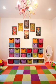 Colorful carpet hides stains in a playroom