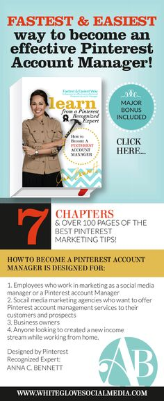 Pinterest marketing expert Anna Benett shares why understanding Facebook and Twitter is not enough to become an expert Pinterest account manager. Use promo code EARLYBIRD (all caps, no spaces) to receive an additional $200 off until April 15.2015 only. http://www.whiteglovesocialmedia.com/become-pinterest-account-manager/