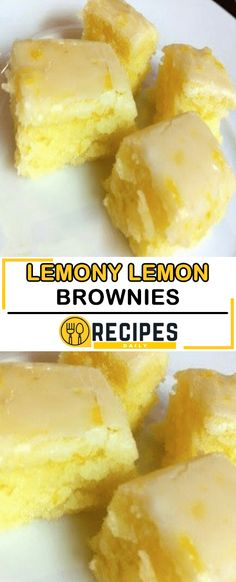 Lemon Brownies are my new favorite dessert. Topped with a delicious lemon glaze, they are just the right mix of fresh lemon and sweetness. We've made some great lemon recipes like Lemon Blueberry D… Dessert Party, Oreo Dessert, Lemon Desserts, Just Desserts, Egg Desserts, Desserts With Few Ingredients, Winter Desserts, Lemony Lemon Brownies, Lemon Bars