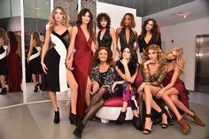 Lily Aldridge, Irina Shayk, Gigi Hadid, Kendall Jenner, Karlie Kloss, Jourdan Dunn, Elsa Hosk & Alanna Arrington pose wearing Diane Von Furstenberg Fall 2016 during New York Fashion Week on February 14, 2016 in New York City.